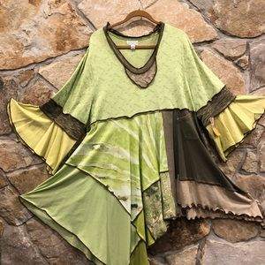 Tops - Upcycled Boho Chartruese Lime Tunic ETSY